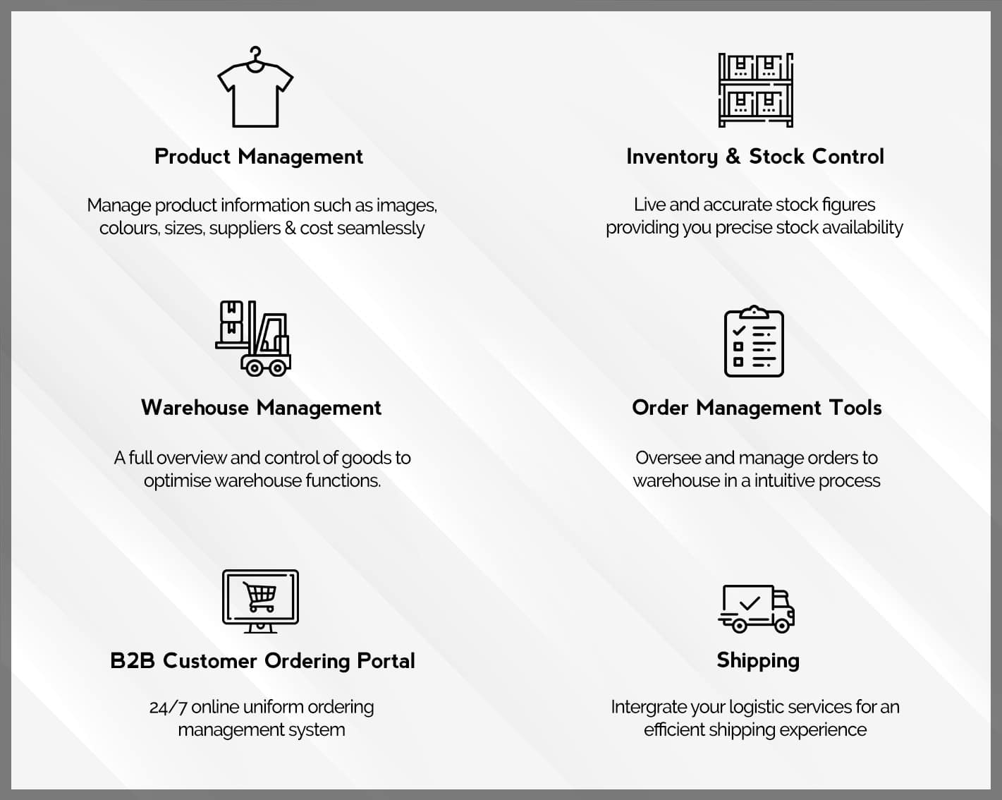 ERP Software for the Apparel Industry capabilities diagram