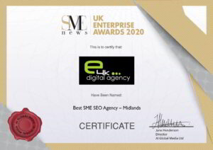 Best SEO Agency Midlands - SME News UK Enterprise Awards Certificate